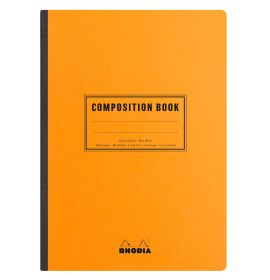 #119248 Rhodia Composition Book, Orange, 80g Lined, 80 Sheets Ivory, Canvas-back Thread Bound