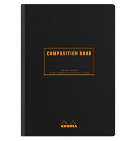 #119249 Rhodia Composition Book, Black, 80g Lined, 80 Sheets Ivory, Canvas-back Thread Bound