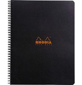 """Rhodia - Wirebound Notebook - Graph - 80 Sheets - 9 x 11 3/4"""" - Black"""