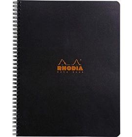 """Rhodia - Wirebound Notebook - Lined with Margin - 80 Sheets - 9 x 11 3/4"""" - Black"""