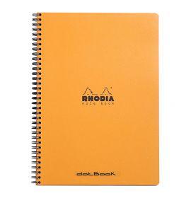 """Rhodia - Wirebound Notebook - Dot Grid - 80 Sheets - 9 x 11 3/4"""" - Orange"""