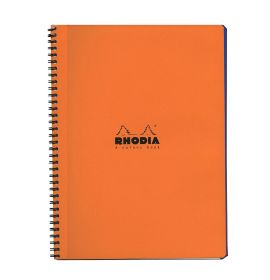 """Rhodia - Wirebound Notebook - 4 Color Book - Lined with Margin - 80 Sheets - 9 x 11 3/4"""" - Orange"""