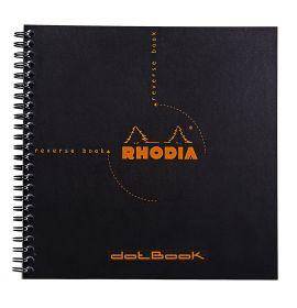"Rhodia - Reverse Book - Dot Grid - 80 Sheets - 8 1/4 x 8 1/4"" - Black"